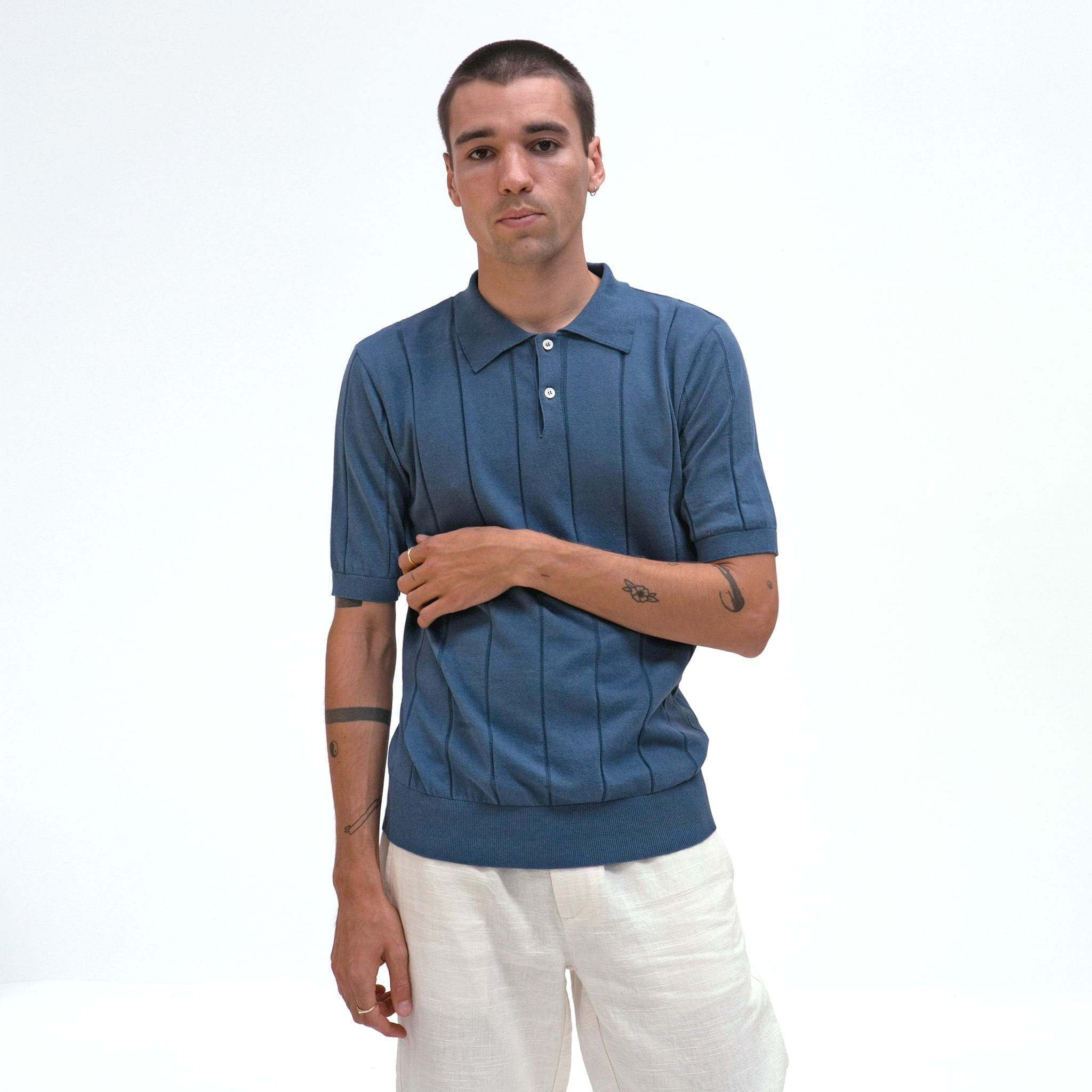 Far Afield Jacobs Short Sleeve Polo a Ensign Blue Organic Cotton FabricMid Century Inspired 2