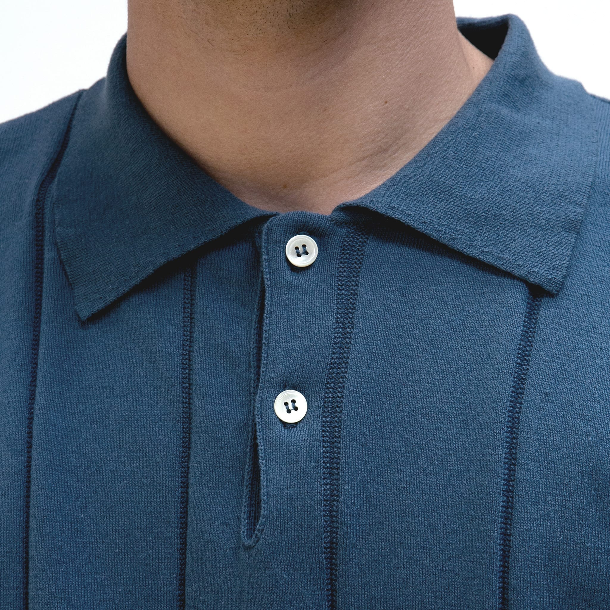 Far Afield Jacobs Short Sleeve Polo a Ensign Blue Organic Cotton FabricMid Century Inspired 3