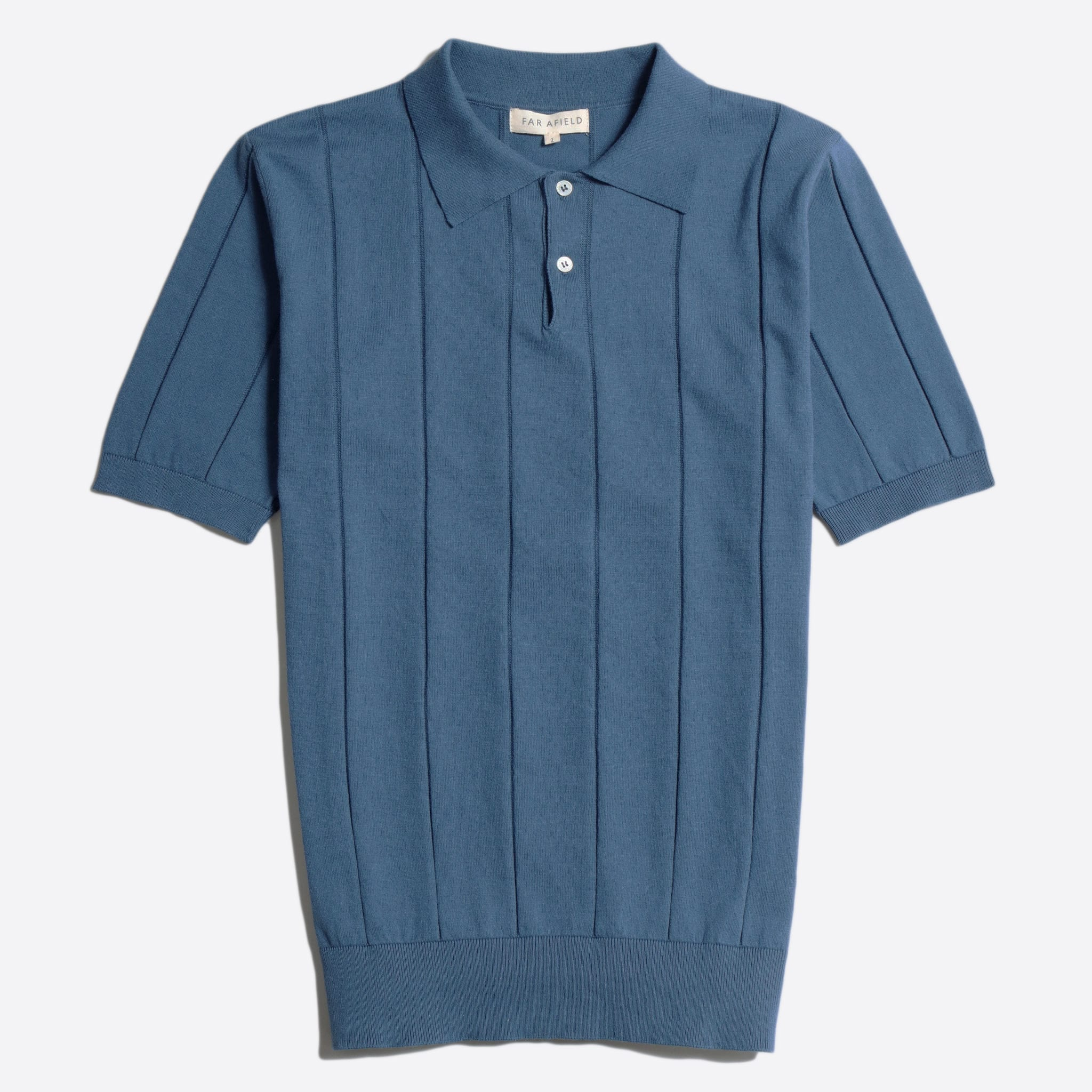Far Afield Jacobs Short Sleeve Polo a Ensign Blue Organic Cotton FabricMid Century Inspired