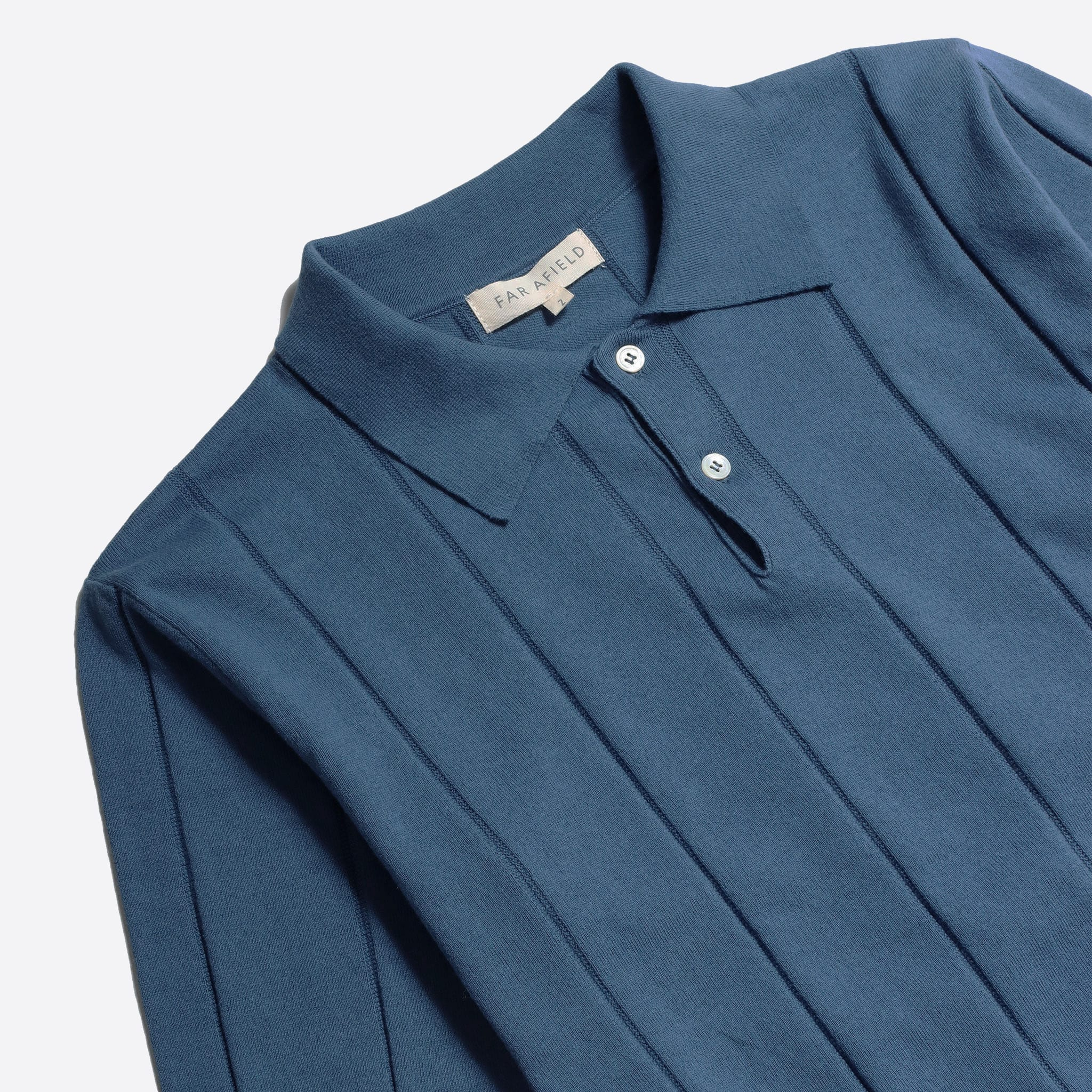 Far Afield Jacobs Short Sleeve Polo a Ensign Blue Organic Cotton FabricMid Century Inspired 4