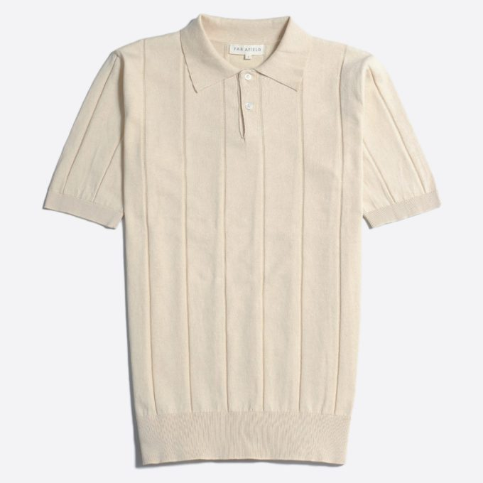 Far Afield Jacobs Short Sleeve Polo a Lambs White Organic Cotton FabricMid Century Inspired