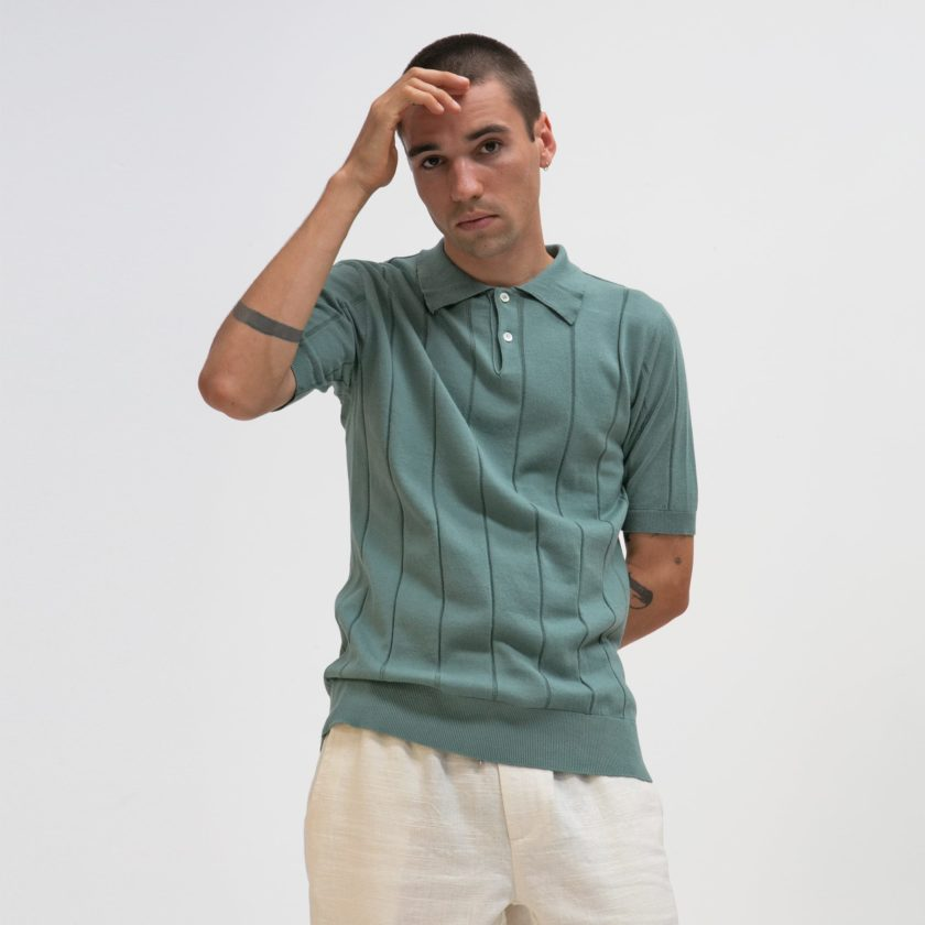 Far Afield Jacobs Short Sleeve Polo a Sagebrush Green Organic Cotton FabricMid Century Inspired 2