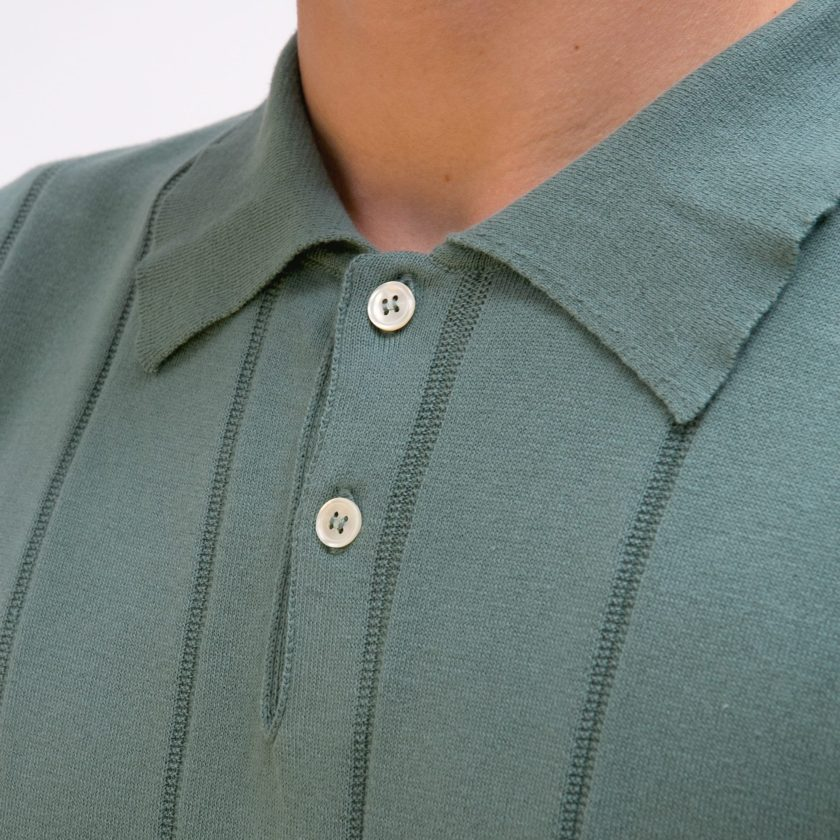 Far Afield Jacobs Short Sleeve Polo a Sagebrush Green Organic Cotton FabricMid Century Inspired 3