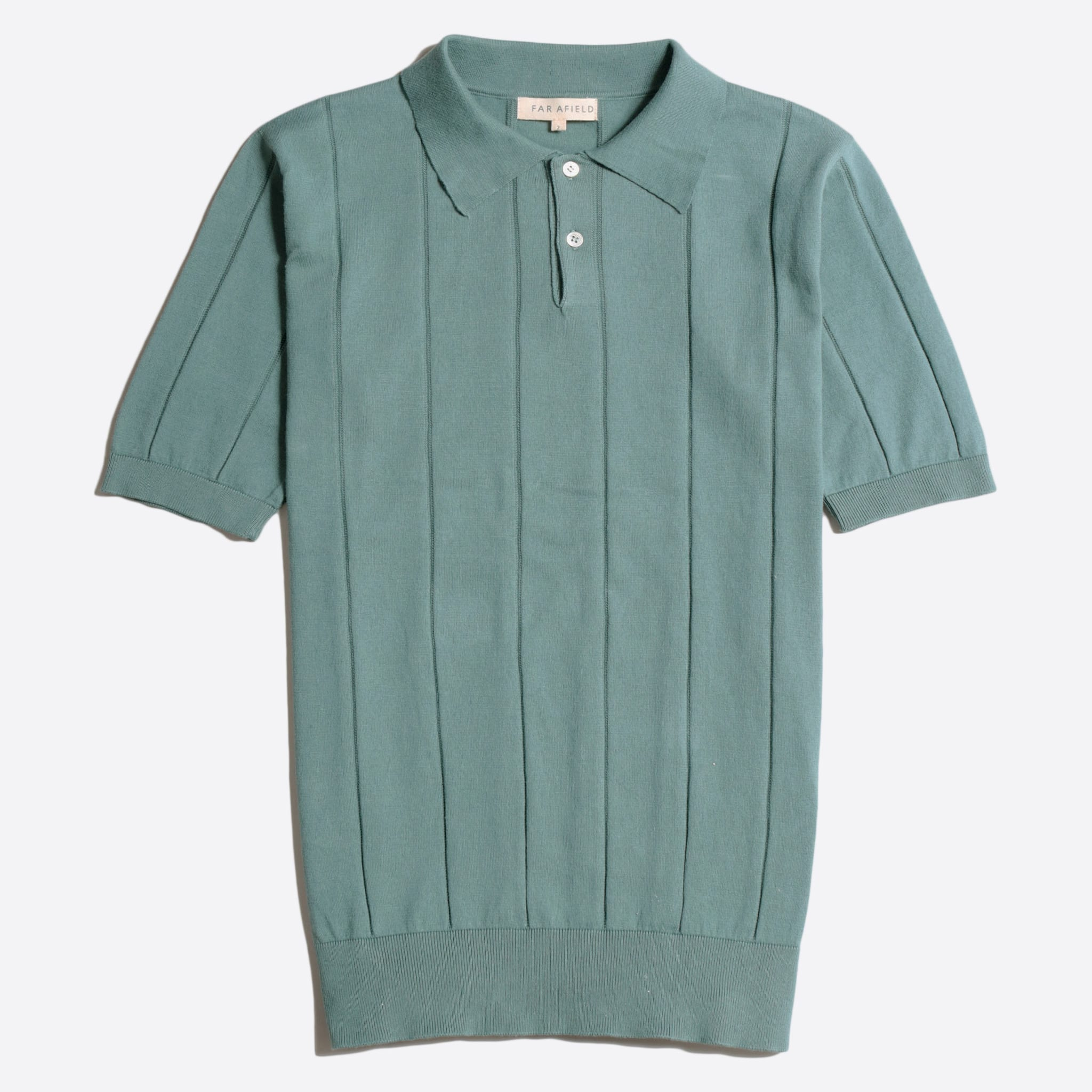 Far Afield Jacobs Short Sleeve Polo a Sagebrush Green Organic Cotton FabricMid Century Inspired