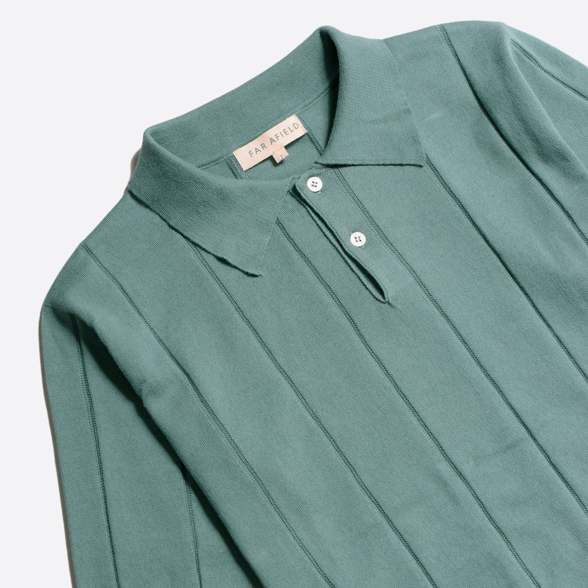 Far Afield Jacobs Short Sleeve Polo a Sagebrush Green Organic Cotton FabricMid Century Inspired 4