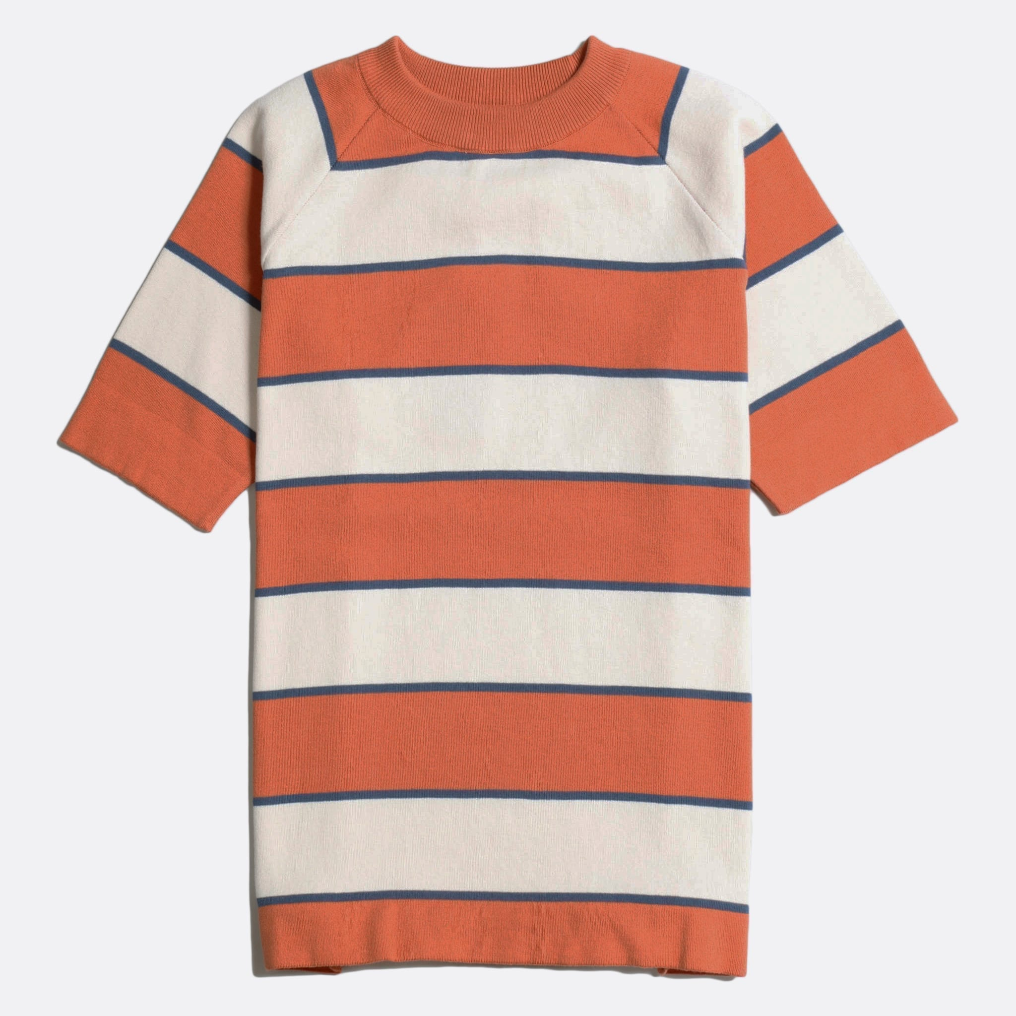 Far Afield Newport T-Shirt a Arabesque Orange/White Sand Organic Cotton Fabric Short Sleeve Mid Century Inspired