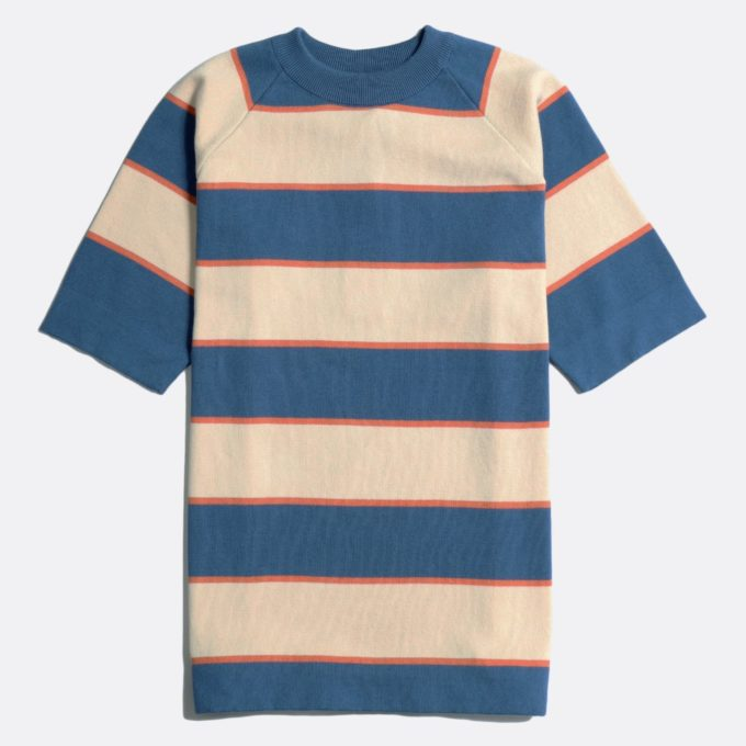 Far Afield Newport T-Shirt a Ensign Blue/Lambs White Organic Cotton Fabric Short Sleeve Mid Century Inspired