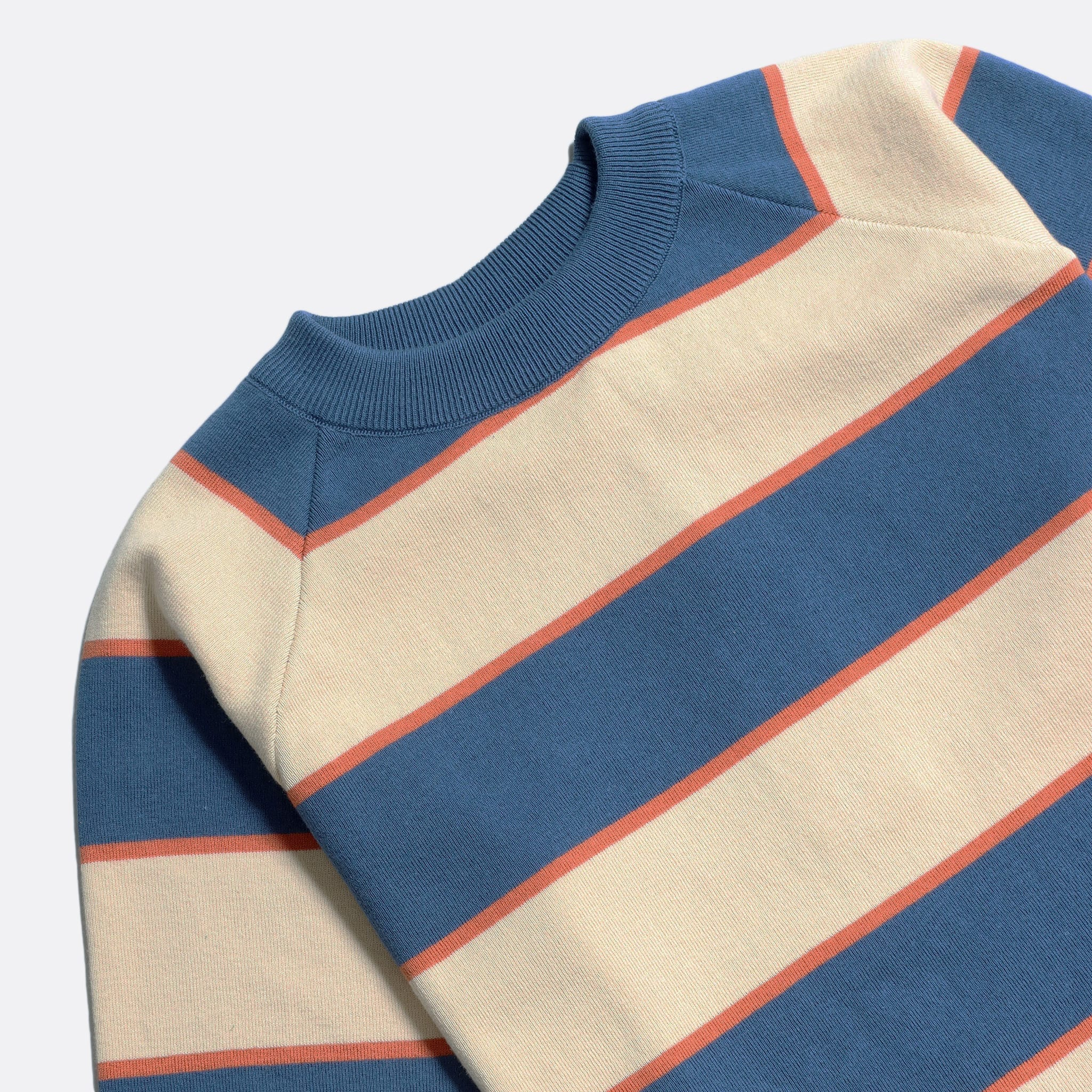 Far Afield Newport T-Shirt a Ensign Blue/Lambs White Organic Cotton Fabric Short Sleeve Mid Century Inspired 4