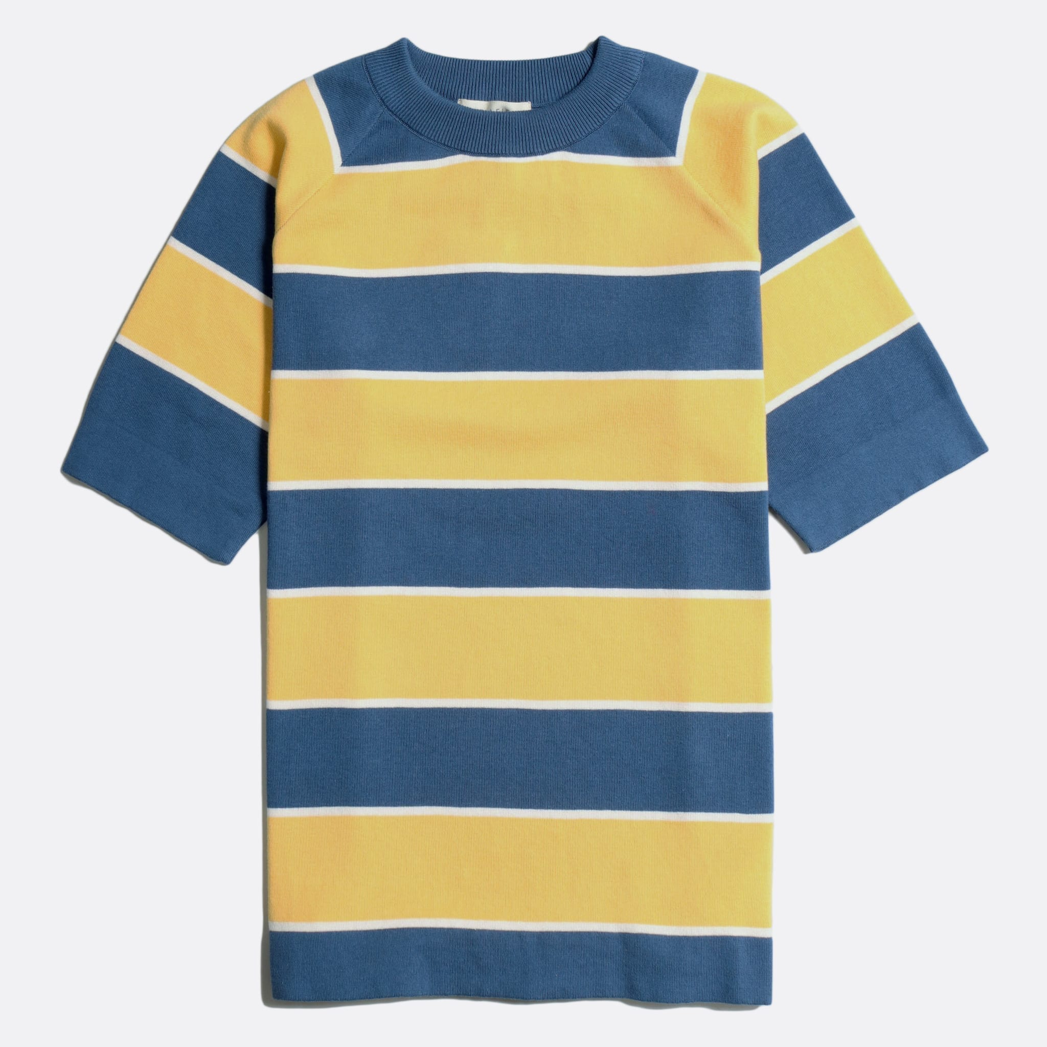 Far Afield Newport T-Shirt a Cornsilk Yellow/Ensign Blue Organic Cotton Fabric Short Sleeve Mid Century Inspired