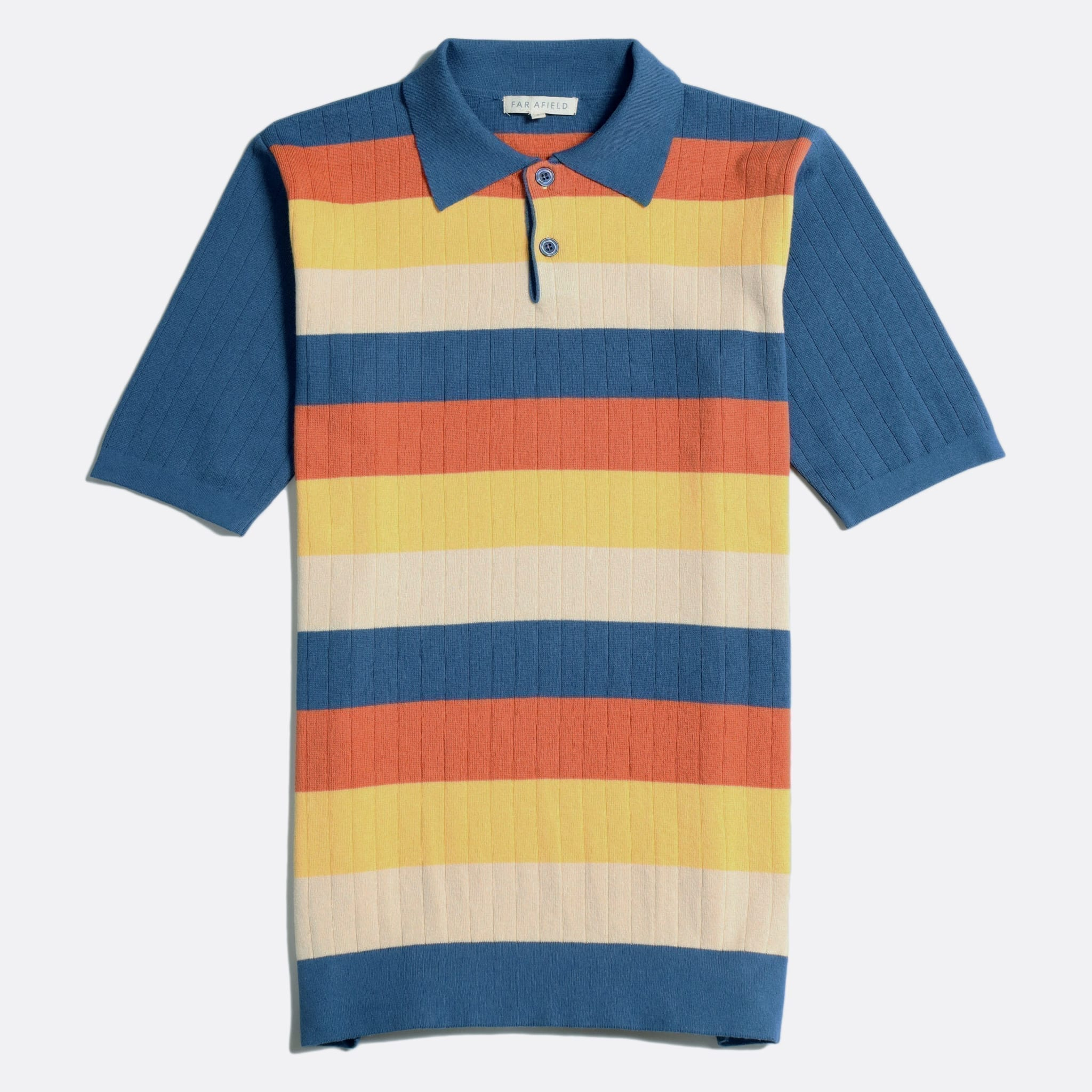 Far Afield Leroy Short Sleeve Polo a Ensign Blue Stripes Organic Cotton Fabric Short Sleeve Polo Mid Century Inspired
