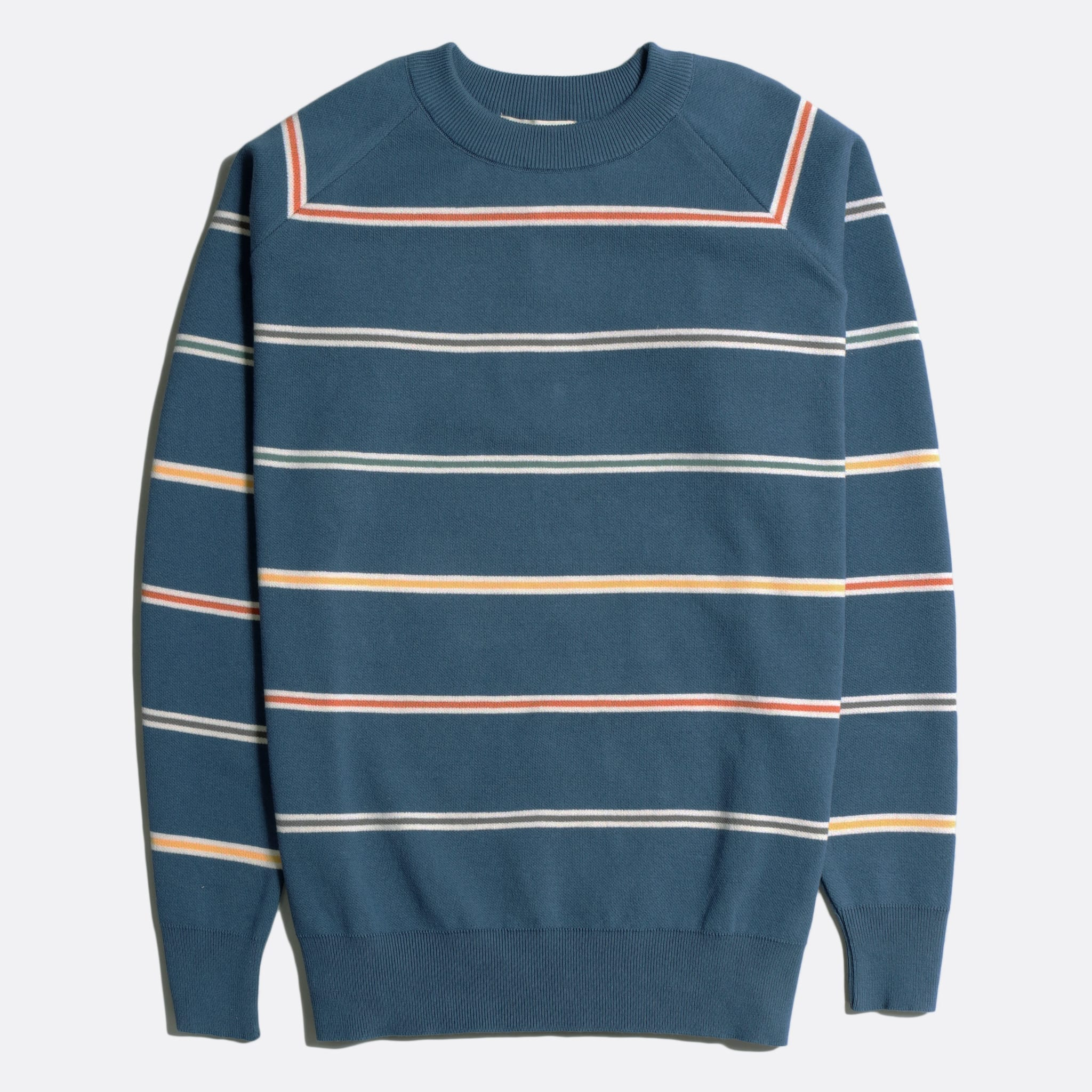 Far Afield Carrol Raglan Knit a Ensign Blue Stripes Organic Cotton Fabric Casual Basics