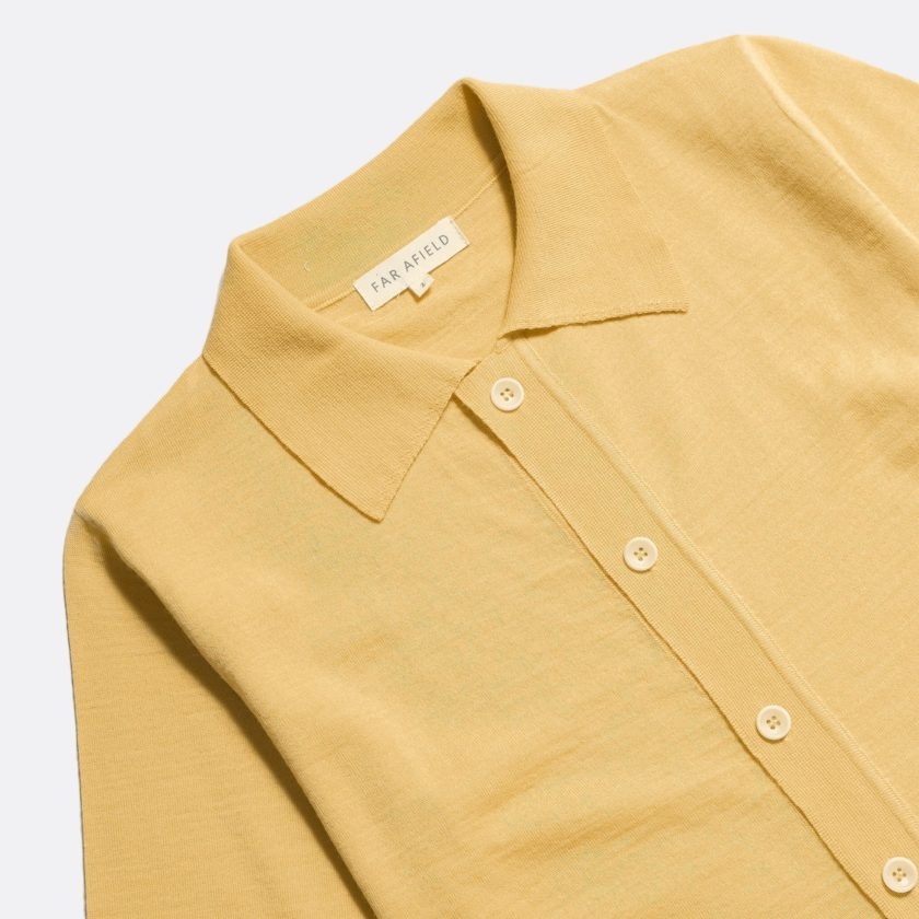 Far Afield Velzy Short Sleeve Cardigan a Cornsilk Yellow 50% Merino Wool / 50% Acrylic Fabric Short Sleeve Cardigan Mid Century Inspired 4