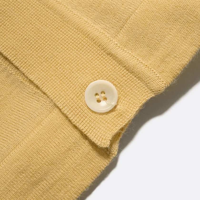 Far Afield Velzy Short Sleeve Cardigan a Cornsilk Yellow 50% Merino Wool / 50% Acrylic Fabric Short Sleeve Cardigan Mid Century Inspired 5
