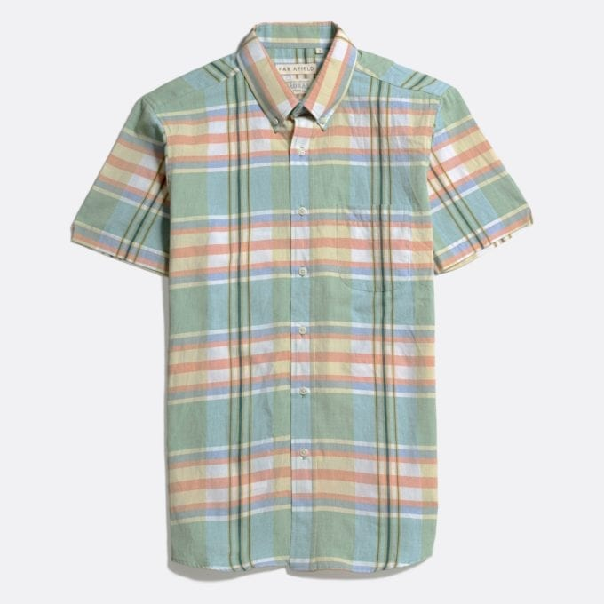 Far Afield x MSCo – Mod Button Down Short Sleeve Shirt a Doheny Check BCI Cotton Fabric Smart Casual