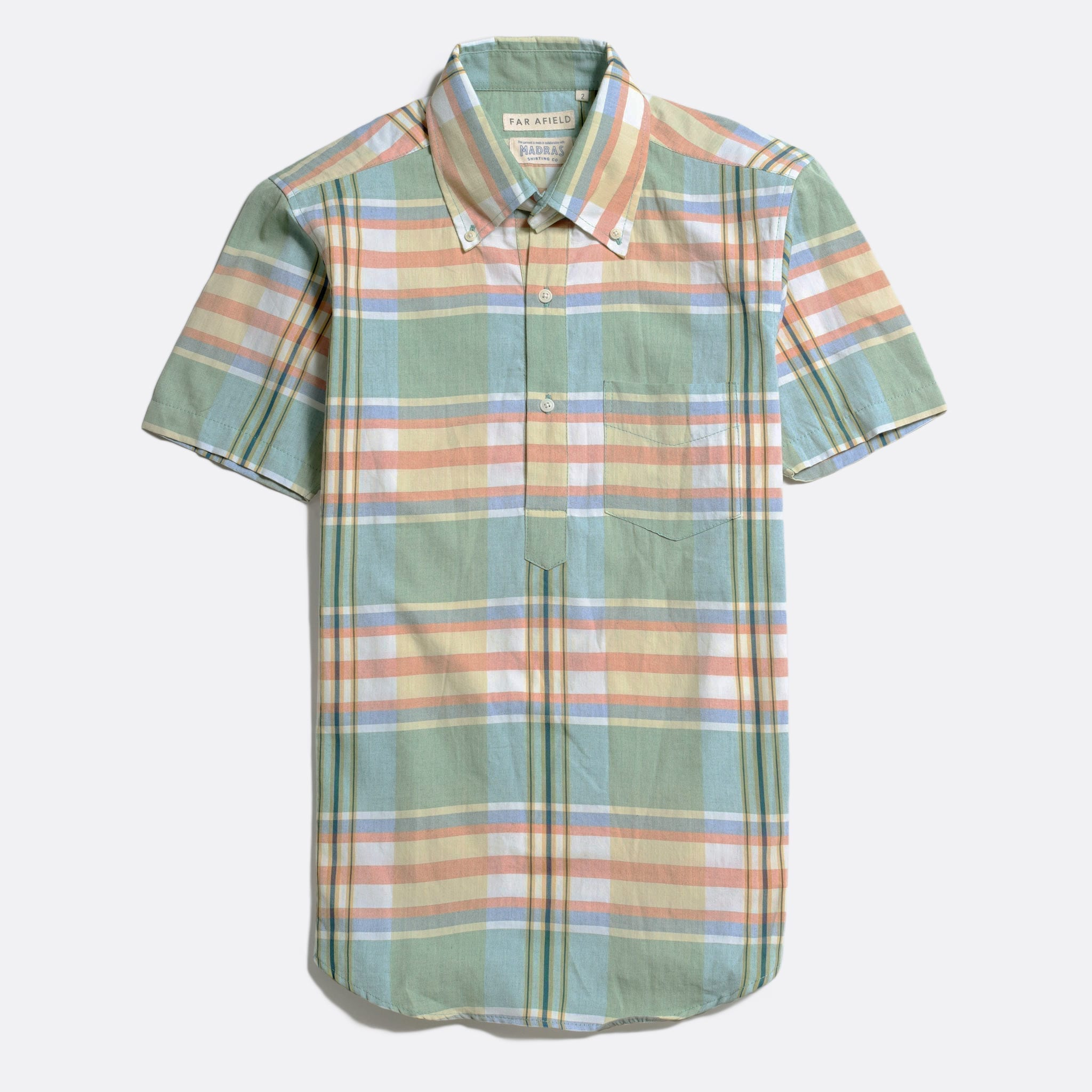 Far Afield x MSCo – Ivy Pop-Over Short Sleeve Shirt a Doheny Check BCI Cotton Fabric Mid Century Inspired