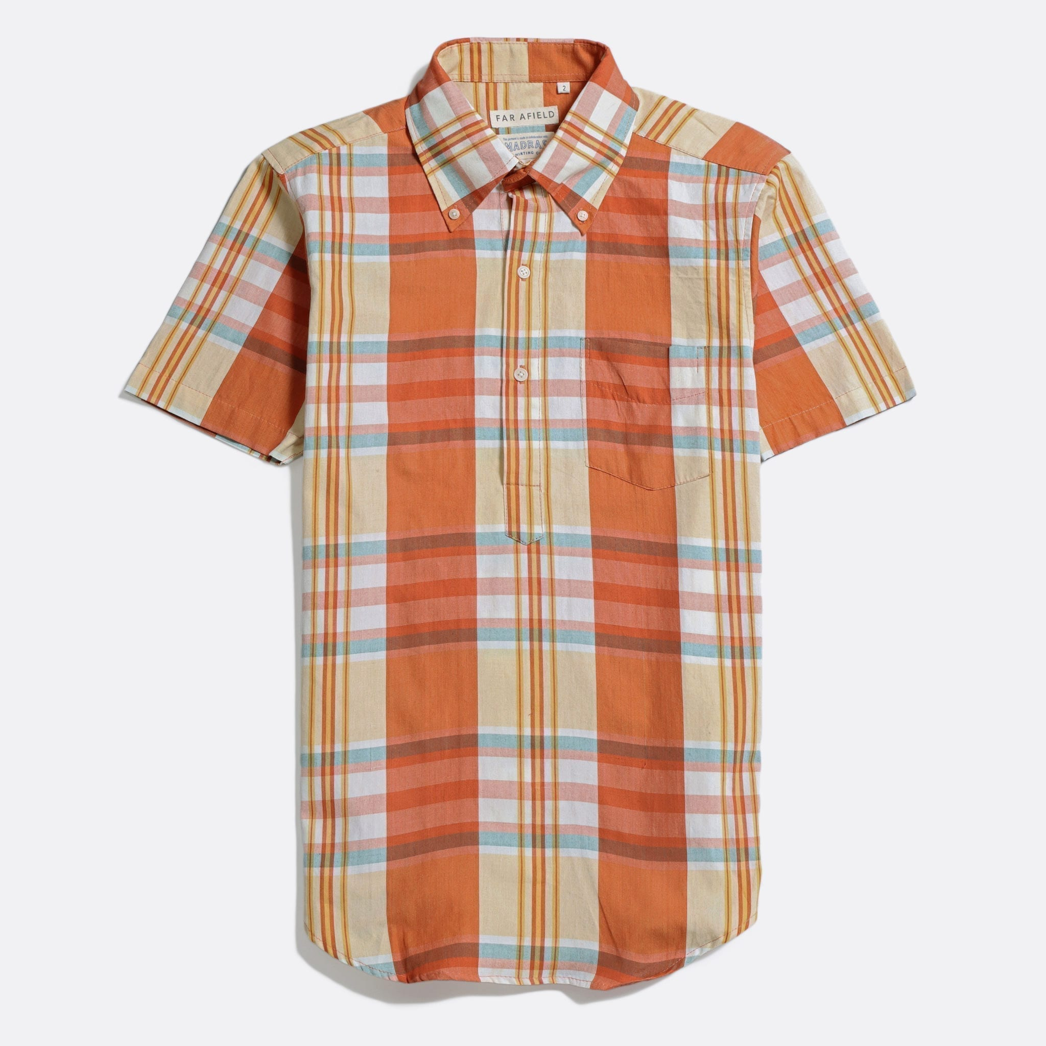 Far Afield x MSCo – Ivy Pop-Over Short Sleeve Shirt a Rincon Check BCI Cotton Fabric Mid Century Inspired