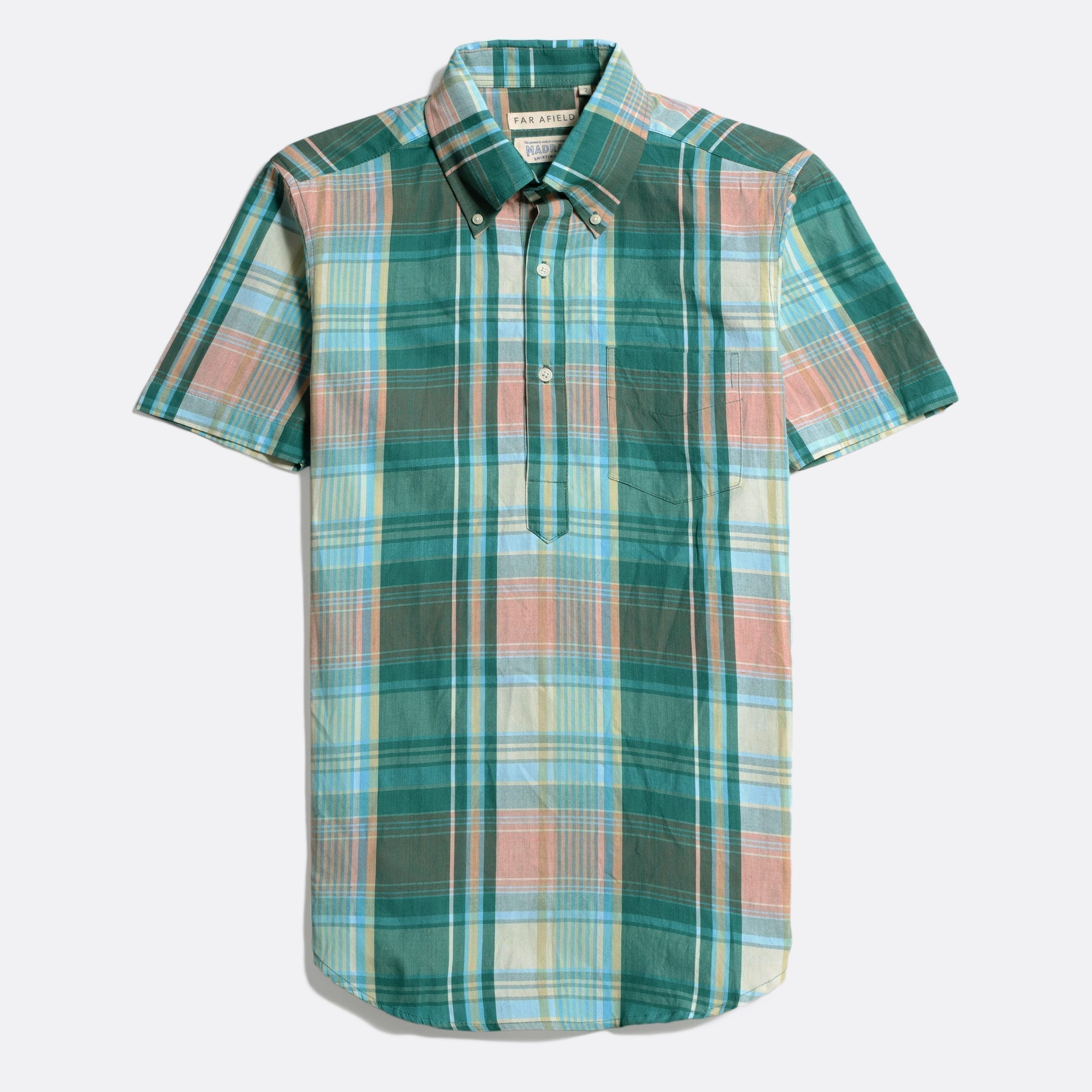 Far Afield x MSCo – Ivy Pop-Over Short Sleeve Shirt a Trestles Check BCI Cotton Fabric Mid Century Inspired