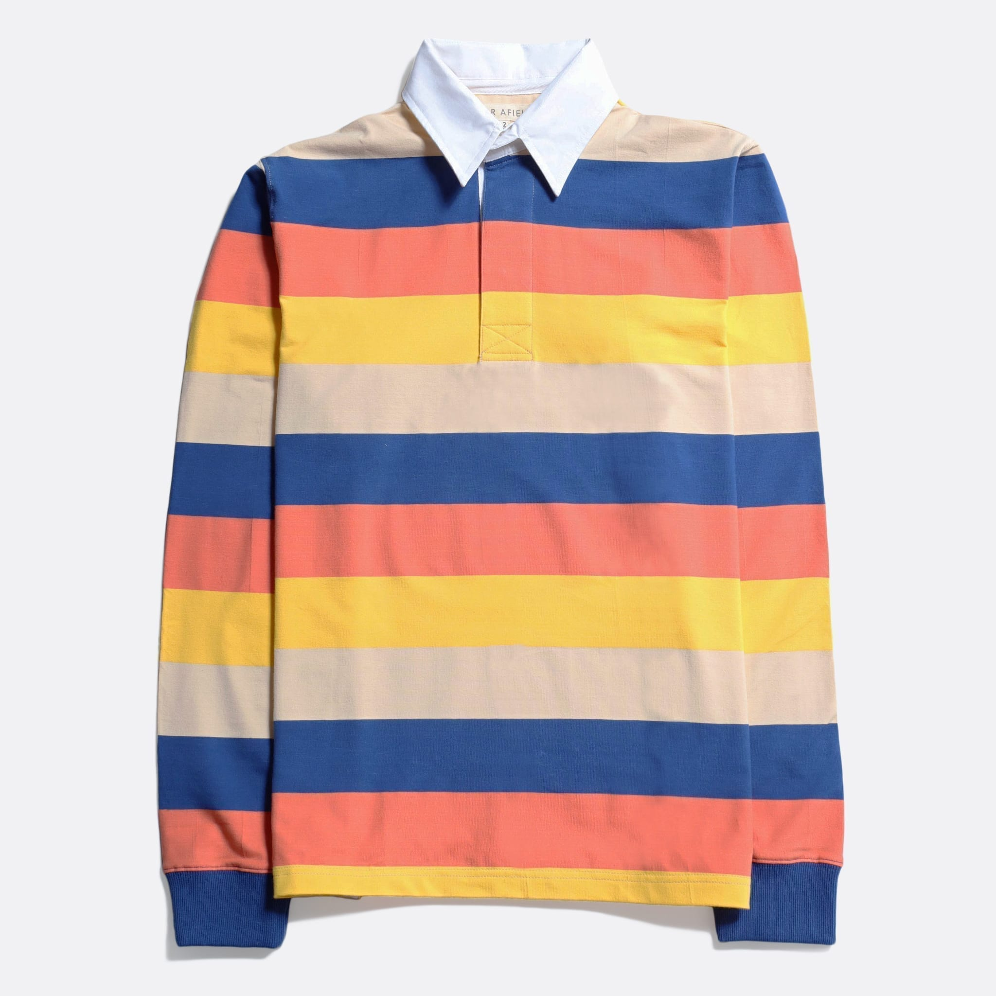 Far Afield Benito Rugby Shirt a Broad Stripe Multi Colour BCI Cotton FabricHeritage Inspired