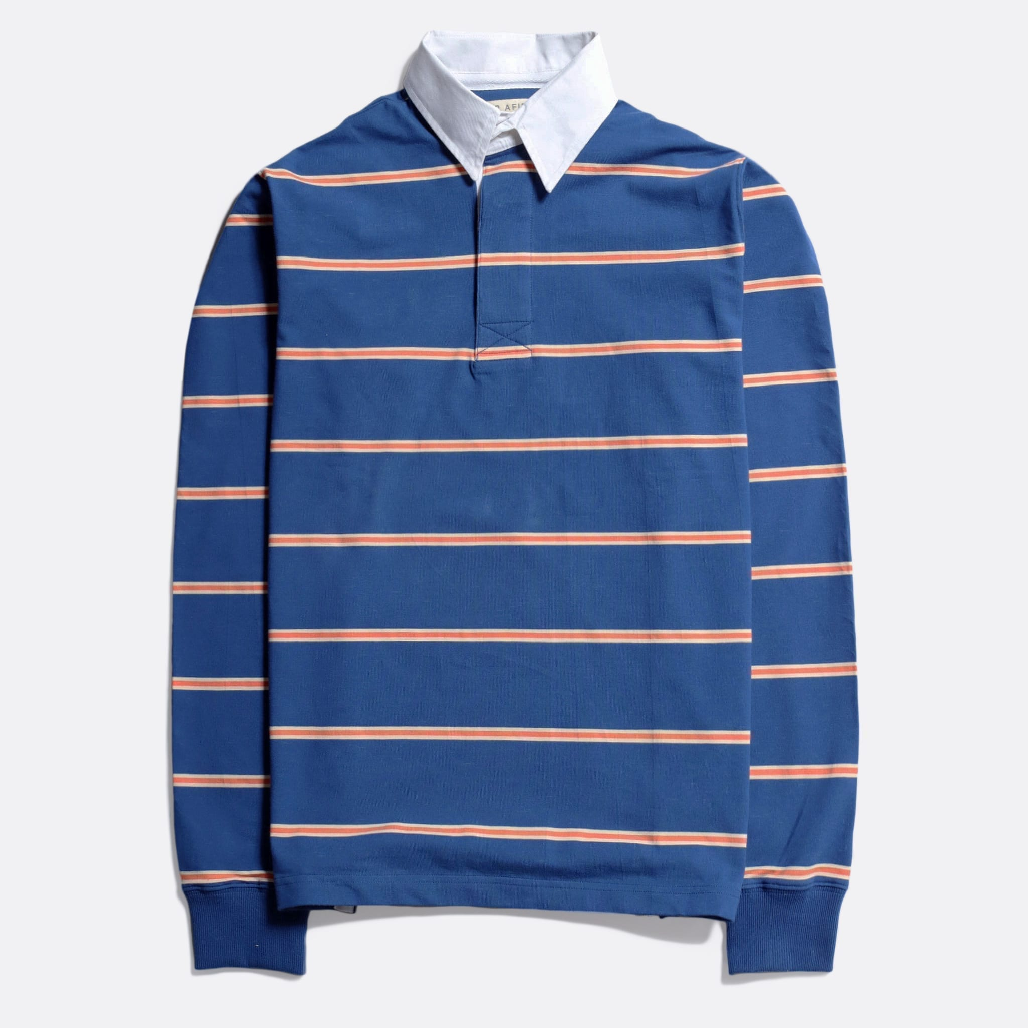 Far Afield Benito Rugby Shirt a Optic Stripe Ensign Blue BCI Cotton FabricHeritage Inspired