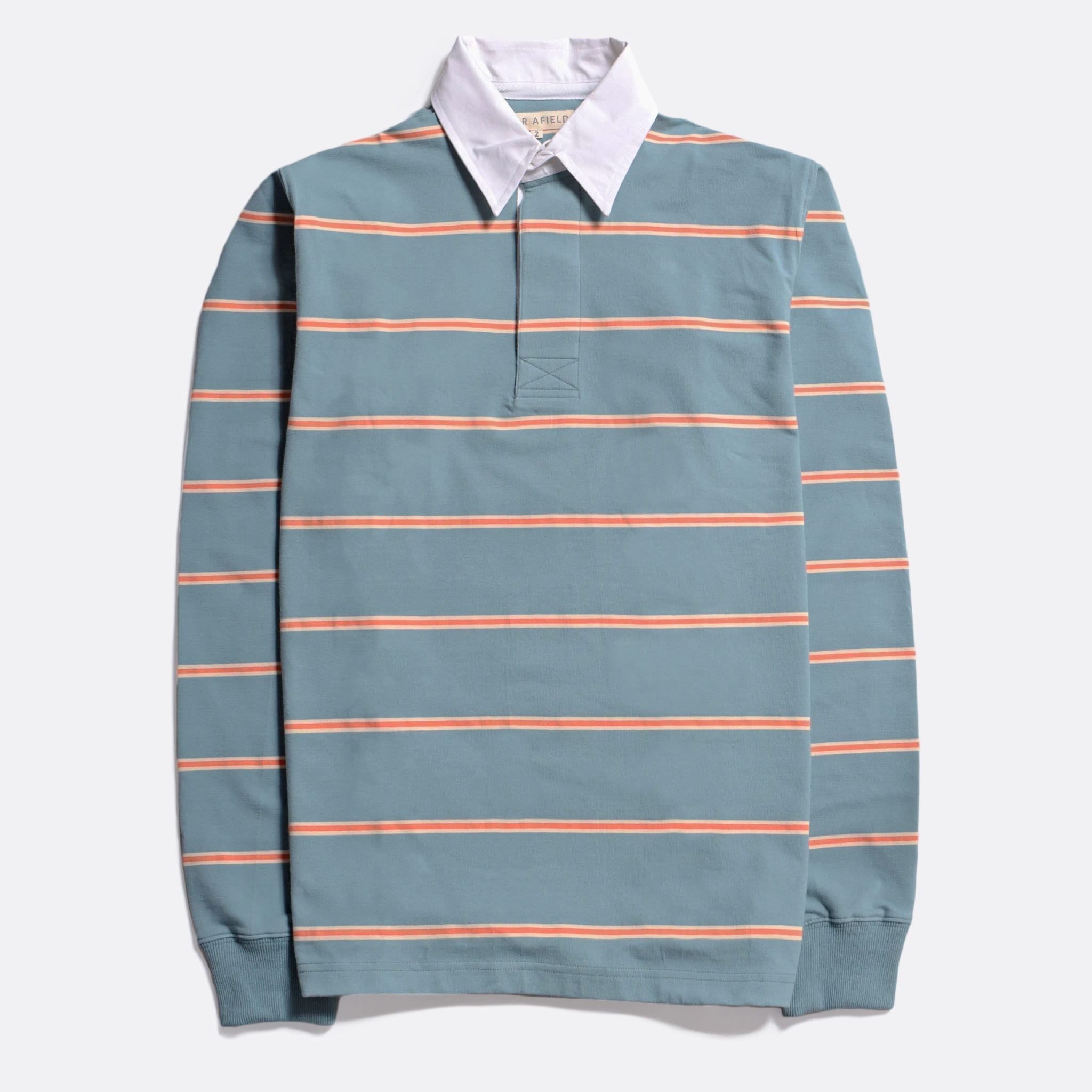 Far Afield Benito Rugby Shirt a Optic Stripe Sagebrush Green BCI Cotton FabricHeritage Inspired