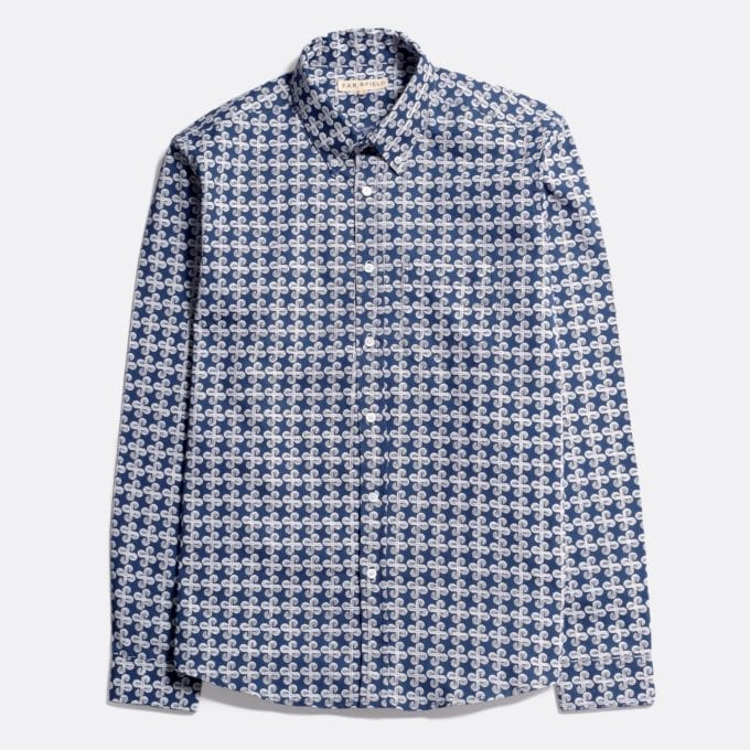 Far Afield Mod Button Down Long Sleeve Shirt a Ensign Blue Organic Satin Cotton Fabric Mod Button Down Shirt Smart Casual