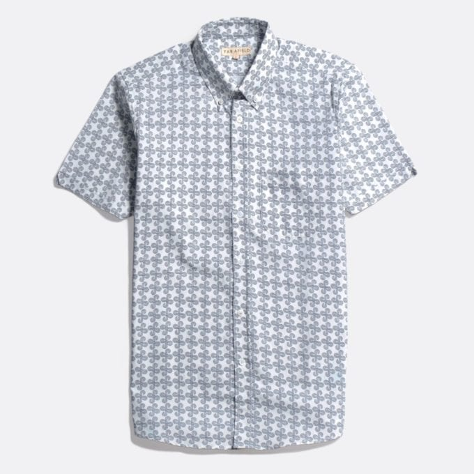 Far Afield Mod Button Down Short Sleeve Shirt a White Sand Organic Satin Cotton Fabric Mod Button Down Shirt Smart Casual