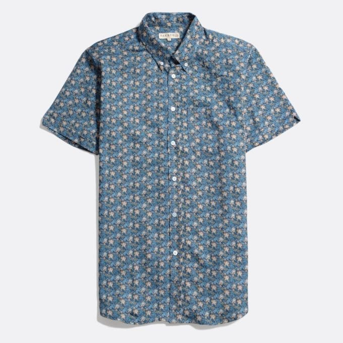 Far Afield Mod Button Down Short Sleeve Shirt a Ensign Blue Organic Satin Cotton Fabric Mod Button Down Shirt Smart Casual
