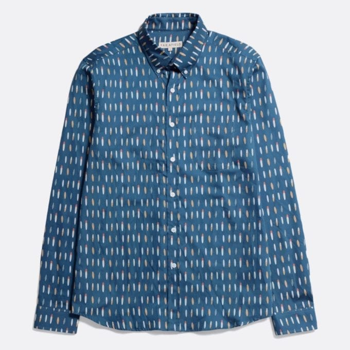 Far Afield Mod Button Down Long Sleeve Shirt a Multi Colour/Blue Organic Satin Cotton Fabric Mod Button Down Shirt Smart Casual