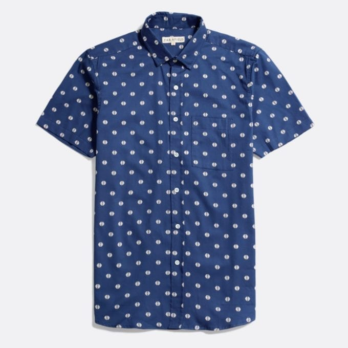 Far Afield Cognito Short Sleeve Shirt a Ensign Blue Organic Baby Twill Cotton Fabric Short Sleeve Shirt Smart Casual