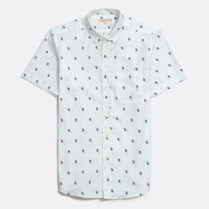 Far Afield Cognito Short Sleeve Shirt a White Sand Organic Baby Twill Cotton Fabric Short Sleeve Shirt Smart Casual