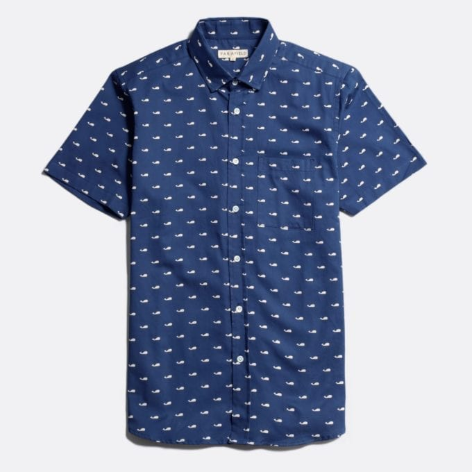 Far Afield Cognito Short Sleeve Shirt a Blue Organic Baby Twill Cotton Fabric Short Sleeve Shirt Smart Casual