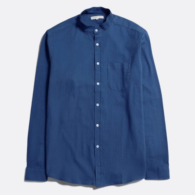 Far Afield Twombly Long Sleeve Shirt a Ensign Blue BCI Cotton Fabric Long Sleeve Shirt Smart Casual