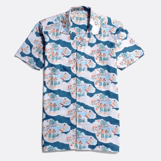 Far Afield Stachio Short Sleeve Shirt a Ensign Blue Organic Satin Cotton Fabric Hawaiian Bowling Style Hawaiian Style