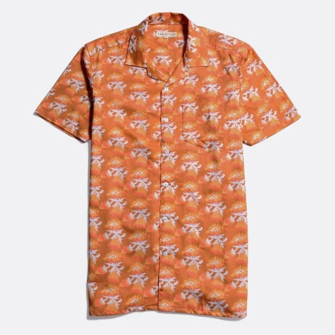 Far Afield Stachio Short Sleeve Shirt a Thrush Brown Organic Satin Cotton Fabric Hawaiian Bowling Style Hawaiian Style