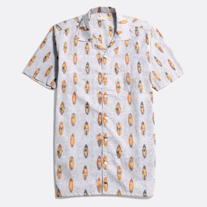 Far Afield Stachio Short Sleeve Shirt a White Sand Organic Satin Cotton Fabric Hawaiian Bowling Style Hawaiian Style