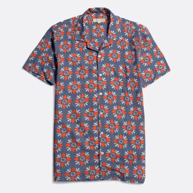 Far Afield Selleck Short Sleeve Shirt a Ensign Blue BCI Cotton / Linen Fabric Mix Hawaiian Bowling Style Hawaiian Style