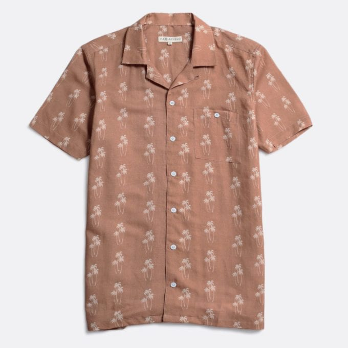 Far Afield Selleck Short Sleeve Shirt a Thrush Brown BCI Cotton / Linen Fabric Mix Hawaiian Bowling Style Hawaiian Style
