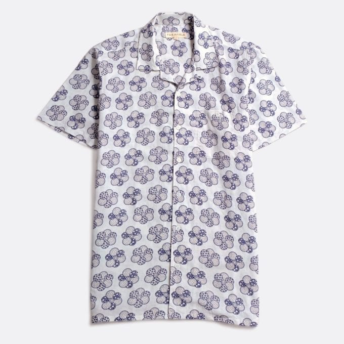 Far Afield Selleck Short Sleeve Shirt a White Sand BCI Cotton / Linen Fabric Mix Hawaiian Bowling Style Hawaiian Style
