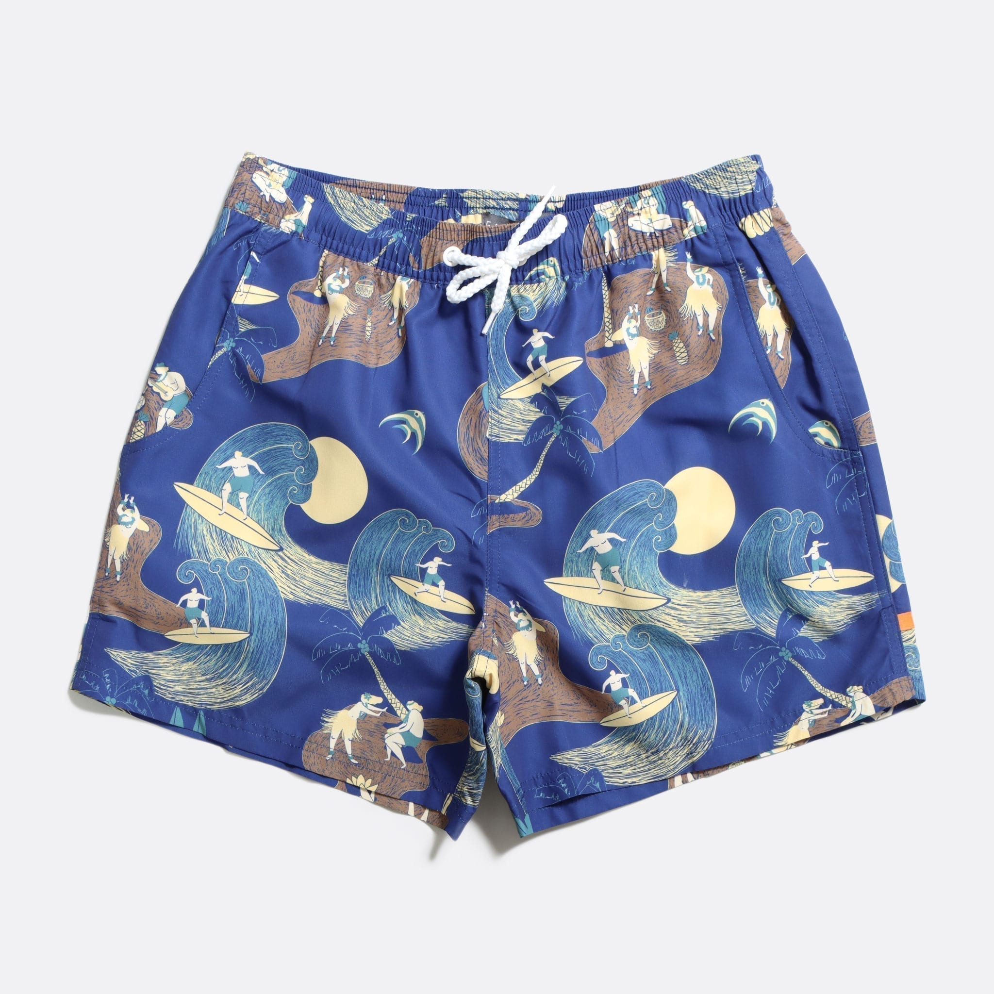 Far Afield Printed Swimshorts a Navy Recycled Plastic Sustainable Fabric