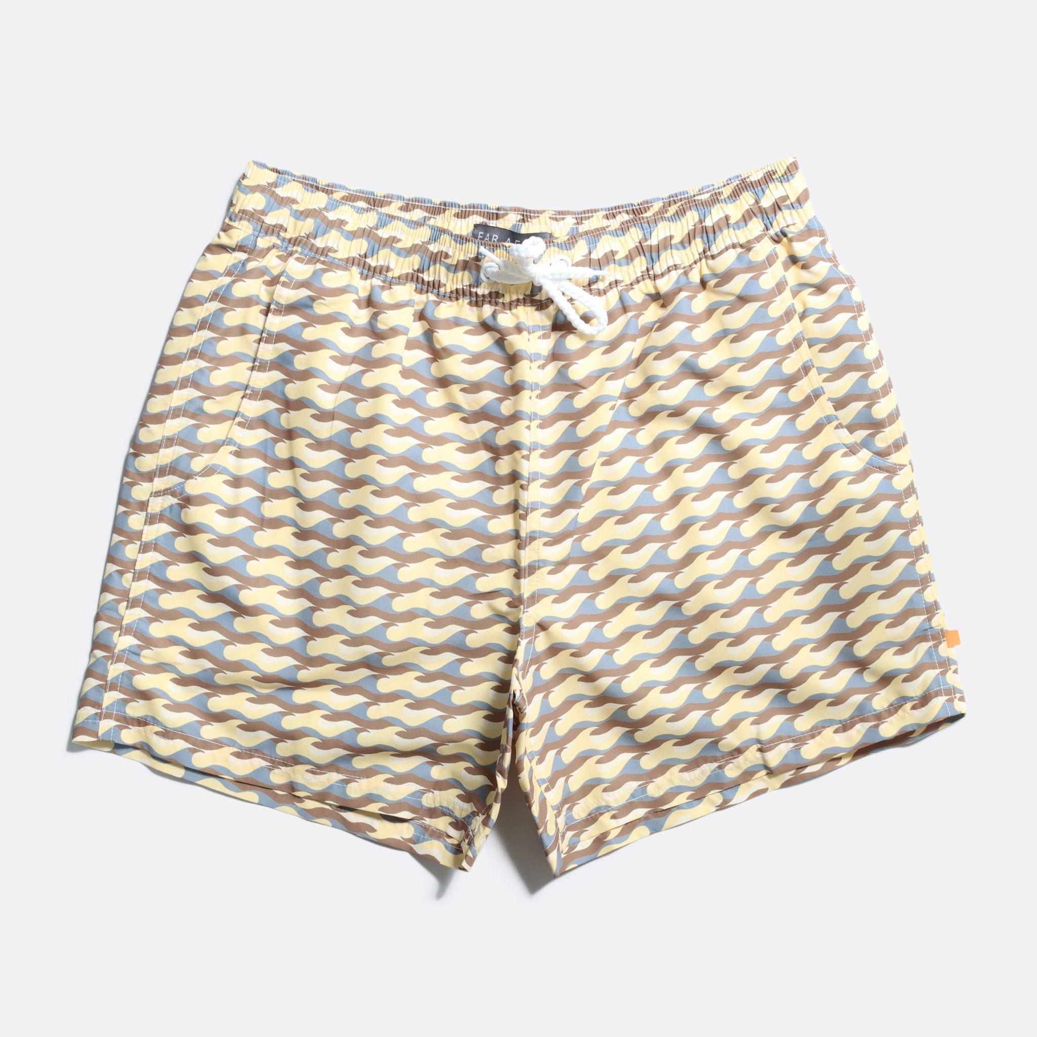 Far Afield Printed Swimshorts a Cornsilk Yellow Recycled Plastic Sustainable Fabric