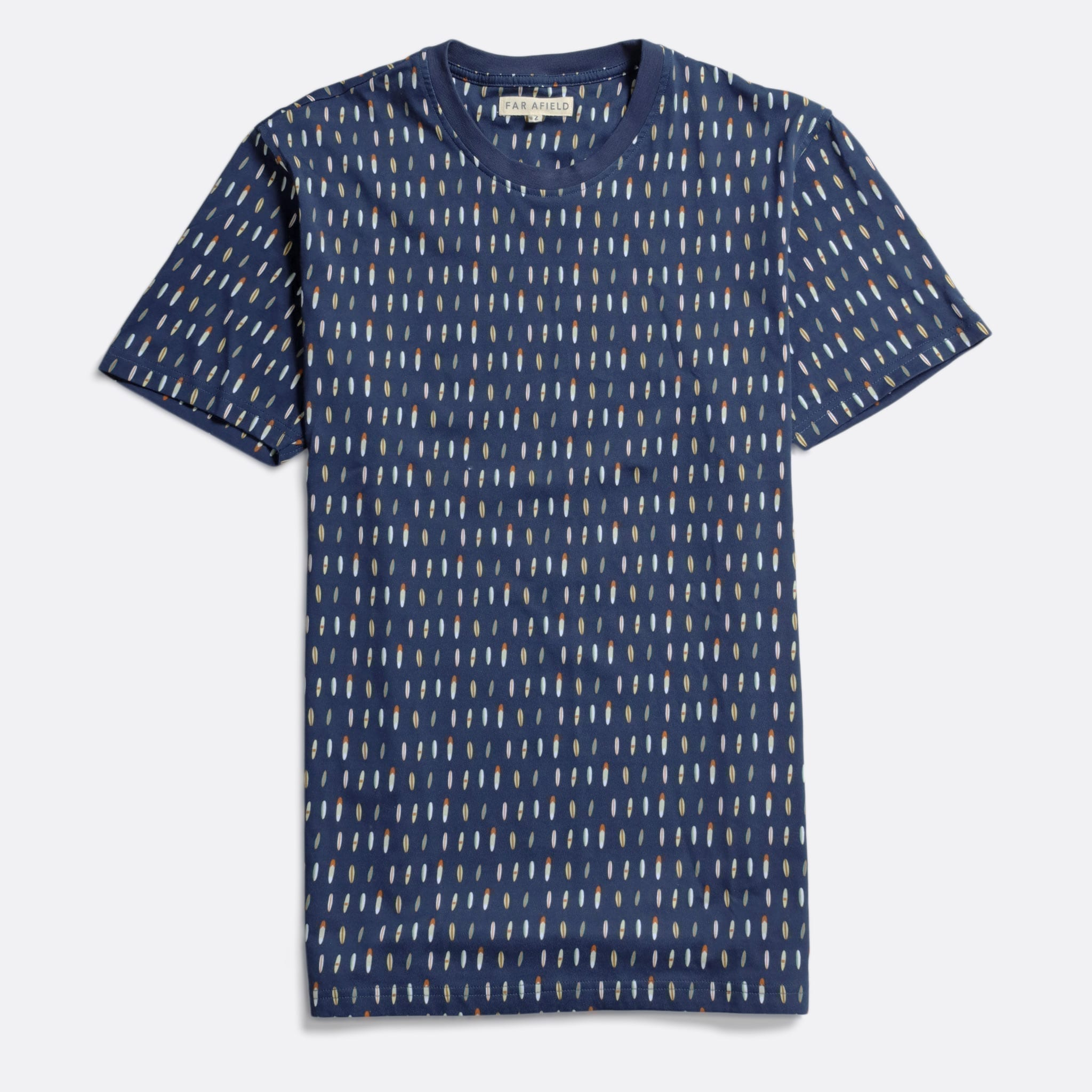Far Afield Printed T-Shirt a Navy Organic Cotton Print Fabriced Casual Basics