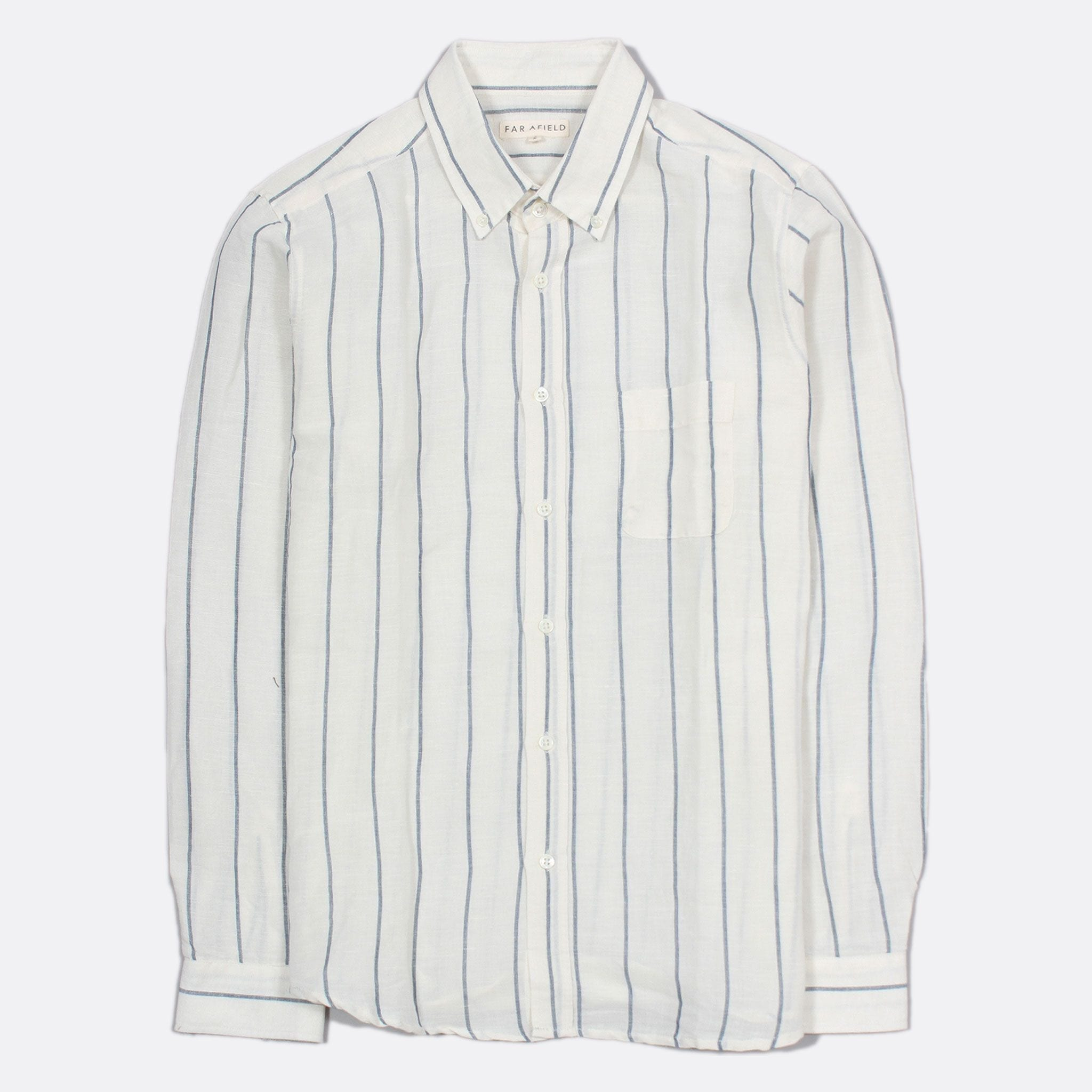 Far Afield Mod Button Down Long Sleeve Shirt a Cotton Off-White Classic Tailored Fabric