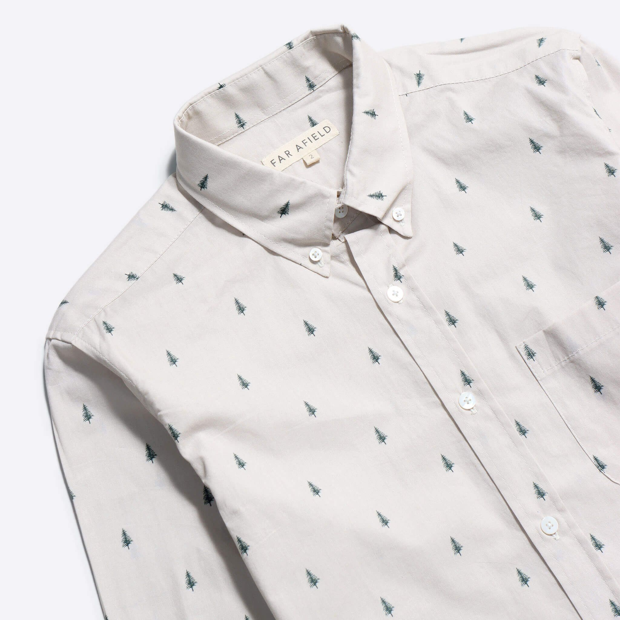 Far Afield Mod Button Down Long Sleeve Shirt a Off White Pine Tree Print Up-cycled Fabric 2