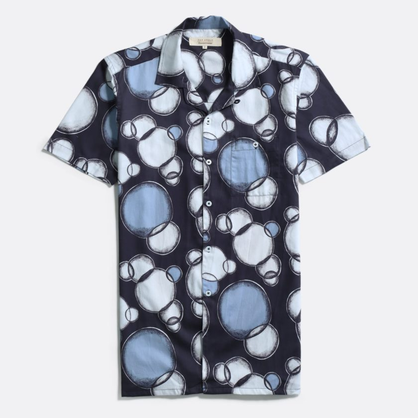 Far Afield x Casual Co Selleck Shirt a Sopranos Bubble Print Organic Satin Cotton Hawaiian Shirt