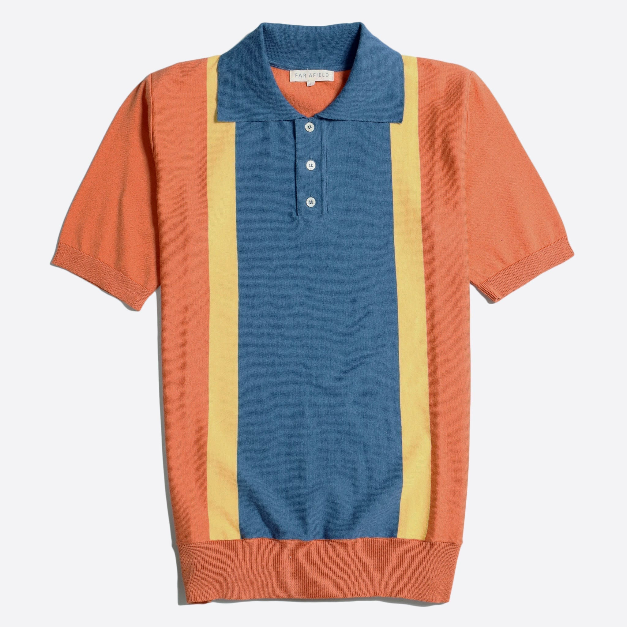 Far Afield Cole Trio Short Sleeve Polo a Arabesque Orange/Ensign Blue Organic Cotton FabricMid Century Inspired