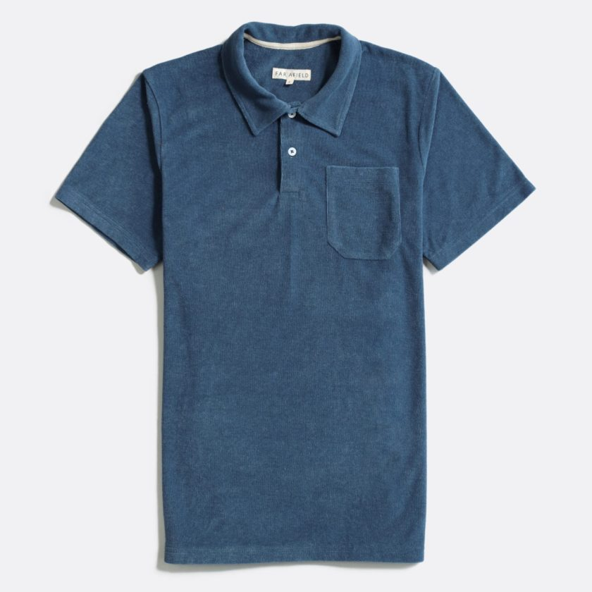 Far Afield Short Sleeve Polo a Blue Terry Towelling Cotton Blend Classic Polo Shirt