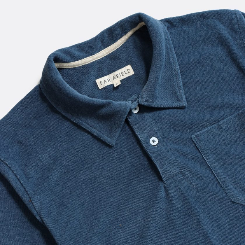 Far Afield Short Sleeve Polo a Blue Terry Towelling Cotton Blend Classic Polo Shirt 2