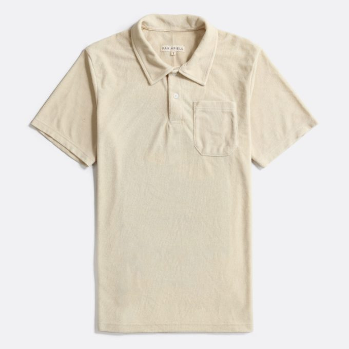 Far Afield Short Sleeve Polo a Off White Terry Towelling Cotton Blend Classic Polo Shirt