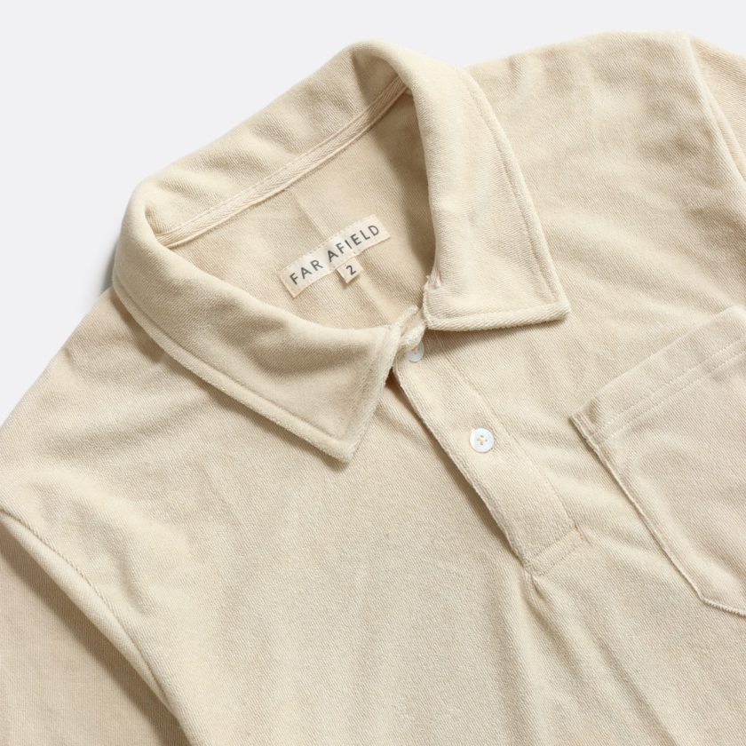 Far Afield Short Sleeve Polo a Off White Terry Towelling Cotton Blend Classic Polo Shirt 2