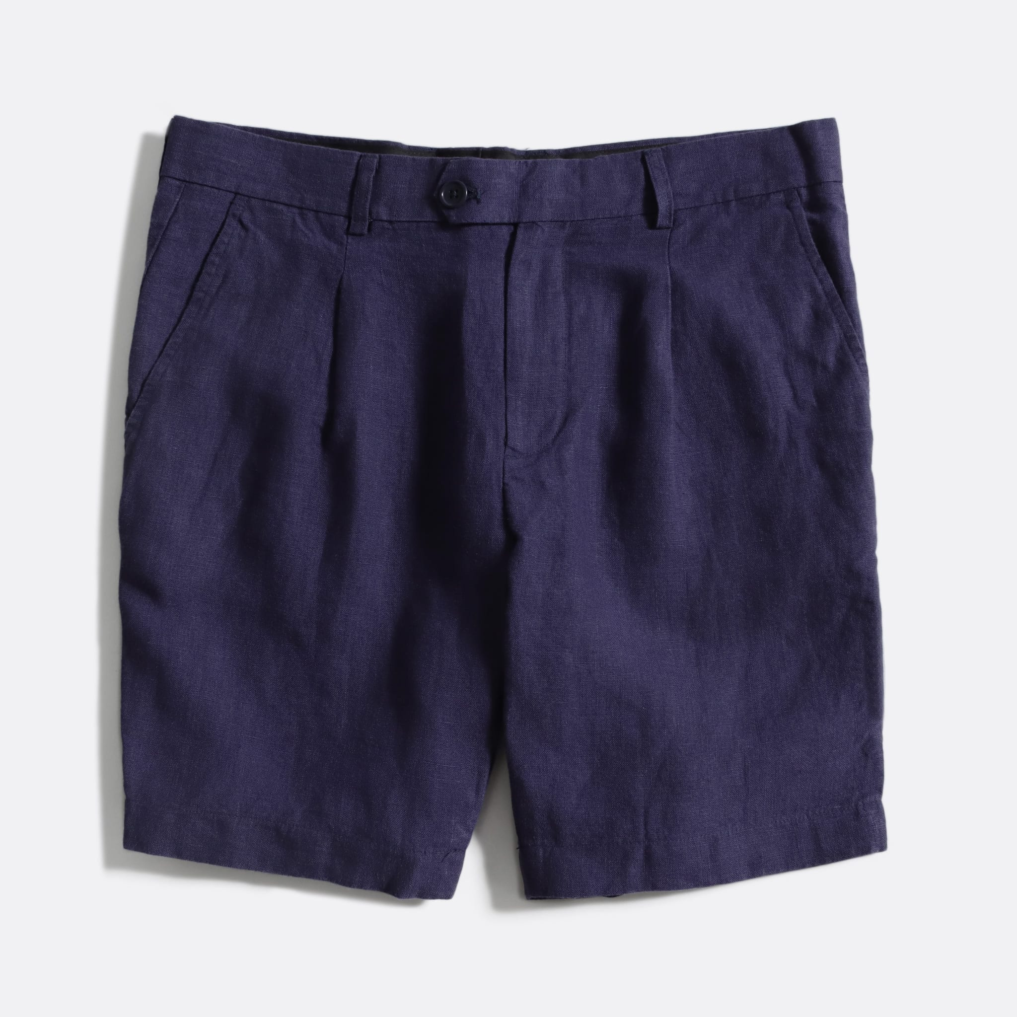 Far Afield Pleat Shorts a Ensign Blue Linen Fabric Smart Casual